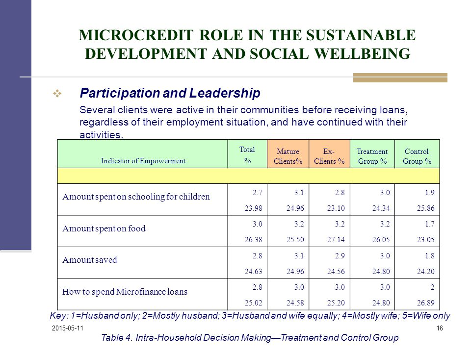 MICROCREDIT ROLE IN THE SUSTAINABLE DEVELOPMENT AND SOCIAL WELLBEING  Participation and Leadership Several clients were active in their communities before receiving loans, regardless of their employment situation, and have continued with their activities.