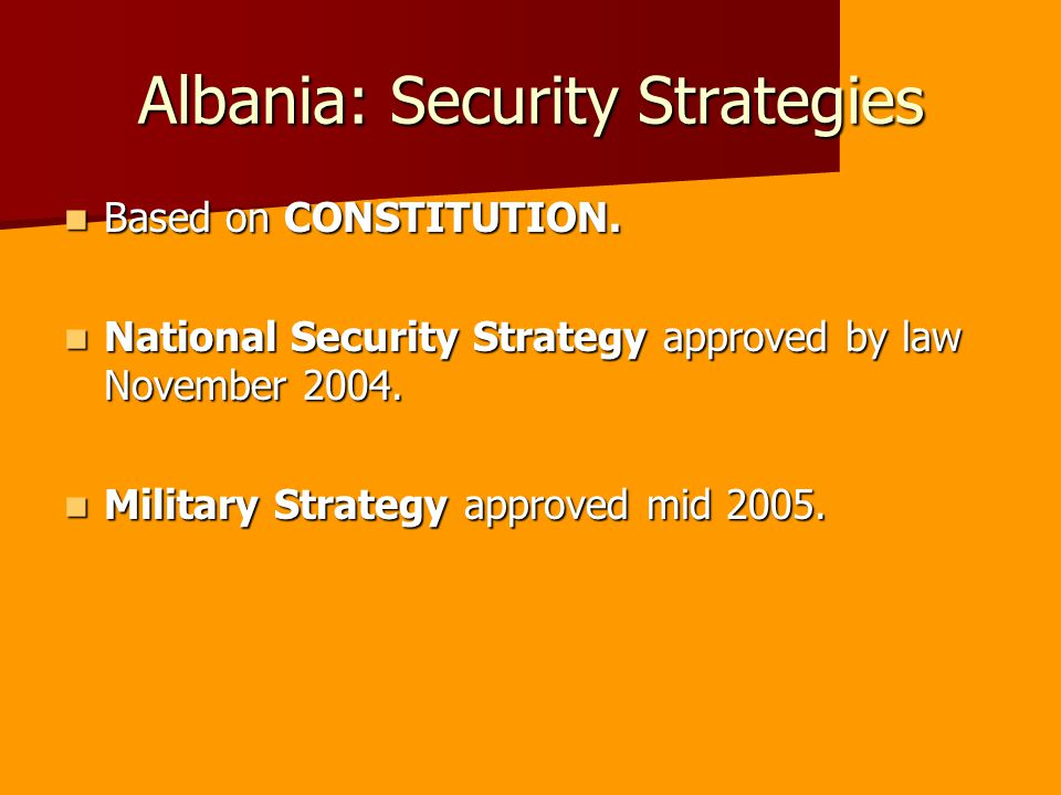 Albania: Security Strategies Based on CONSTITUTION.