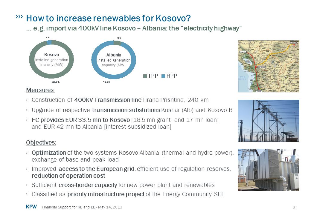 "3 Financial Support for RE and EE - May 14, 2013 How to increase renewables for Kosovo? … e.g. import via 400kV line Kosovo – Albania: the ""electricit"