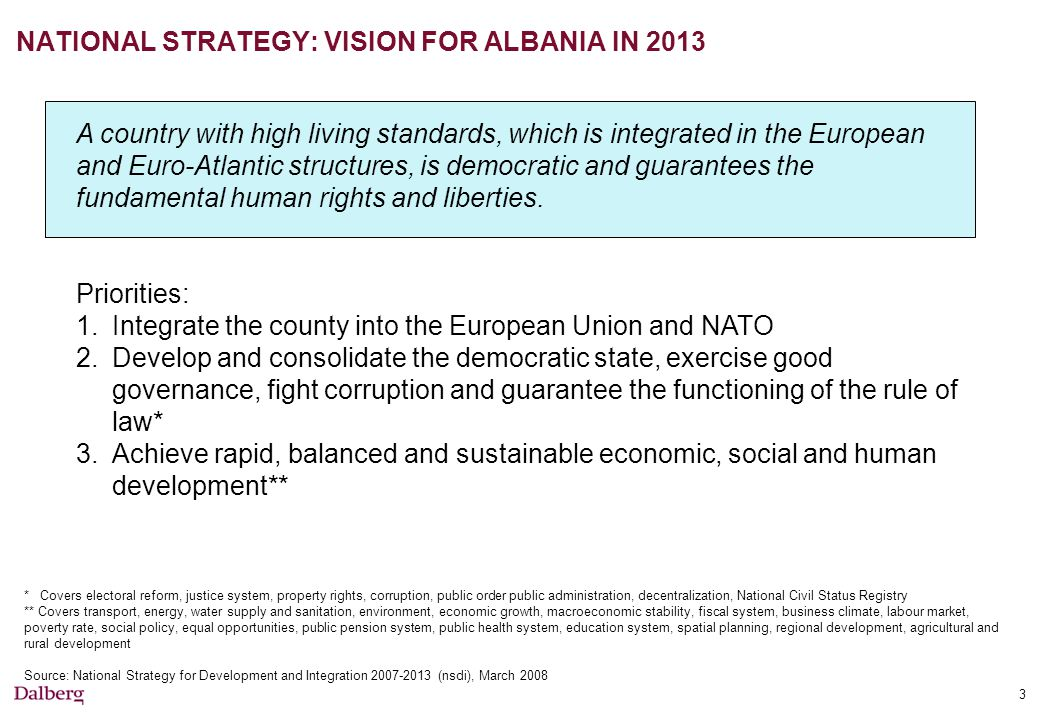 NATIONAL STRATEGY: VISION FOR ALBANIA IN 2013 3 A country with high living standards, which is integrated in the European and Euro-Atlantic structures, is democratic and guarantees the fundamental human rights and liberties.