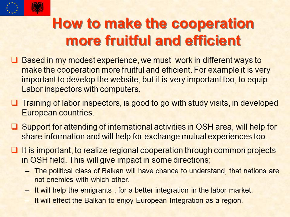 How to make the cooperation more fruitful and efficient  Based in my modest experience, we must work in different ways to make the cooperation more fruitful and efficient.