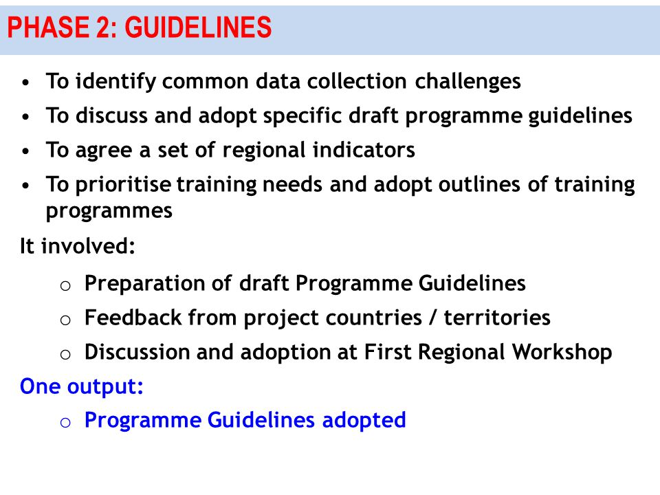PHASE 2: GUIDELINES To identify common data collection challenges To discuss and adopt specific draft programme guidelines To agree a set of regional indicators To prioritise training needs and adopt outlines of training programmes It involved: o Preparation of draft Programme Guidelines o Feedback from project countries / territories o Discussion and adoption at First Regional Workshop One output: o Programme Guidelines adopted