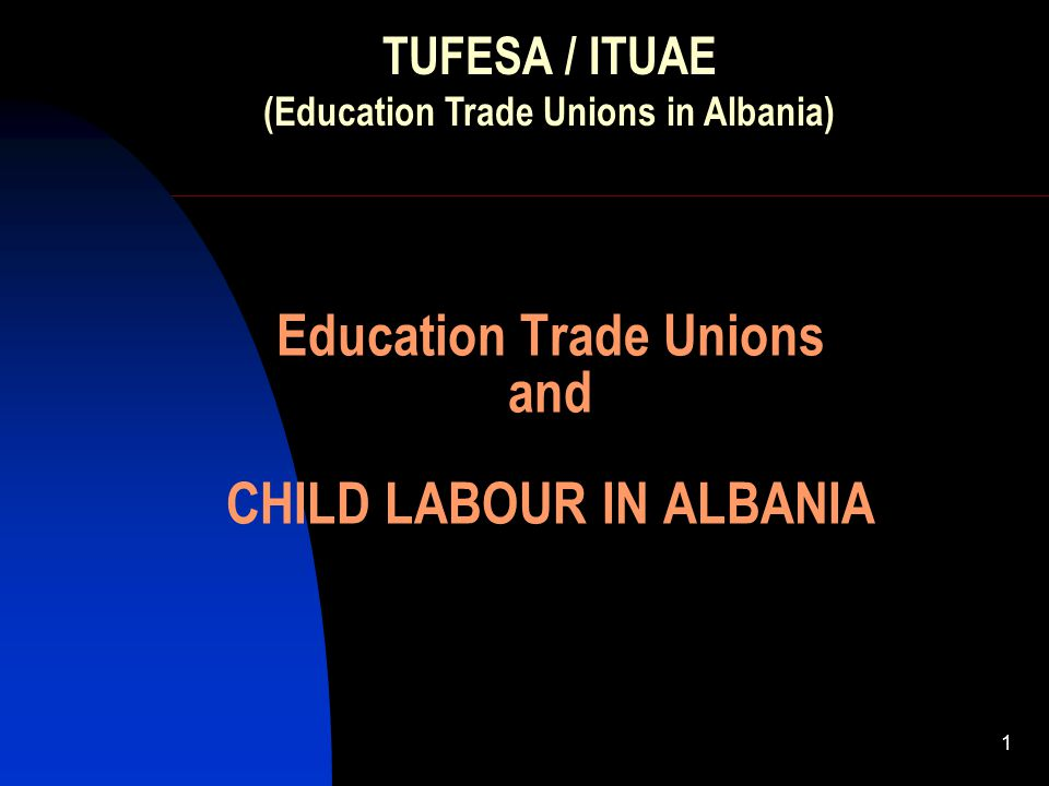 1 Education Trade Unions and CHILD LABOUR IN ALBANIA TUFESA / ITUAE (Education Trade Unions in Albania)