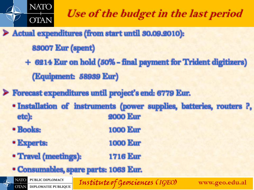 Use of the budget in the last period Institute of Geosciences ( IGEO ) www.geo.edu.al