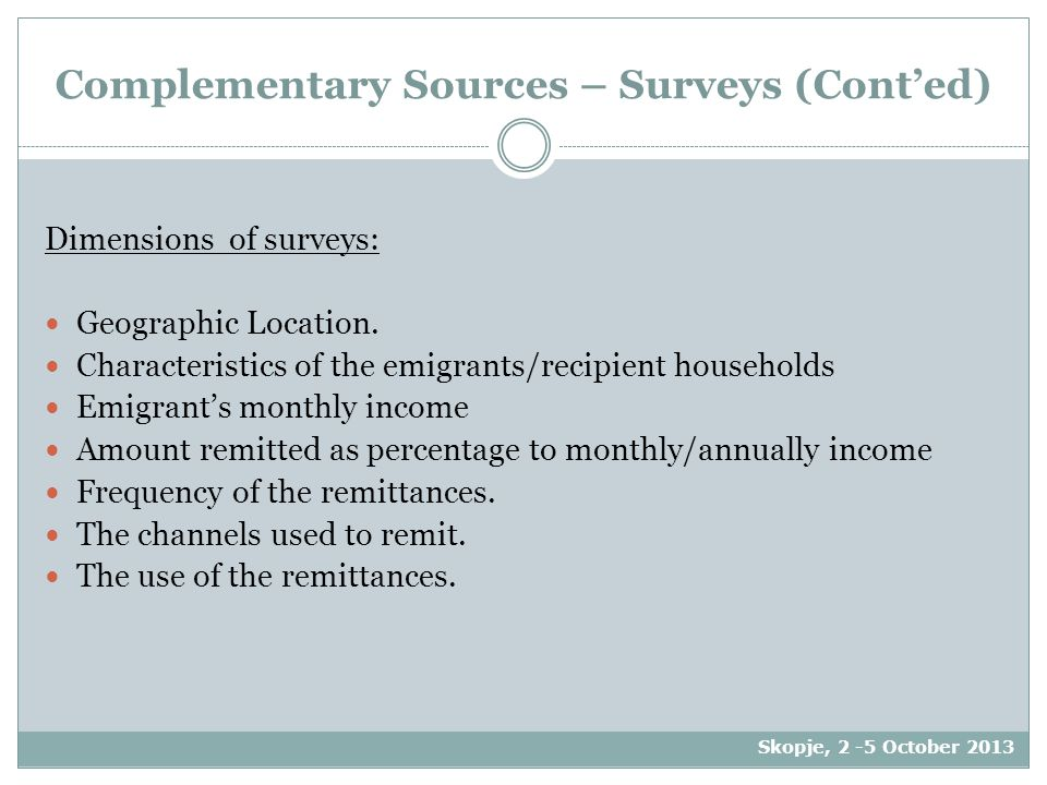 Complementary Sources – Surveys (Cont'ed) Dimensions of surveys: Geographic Location.