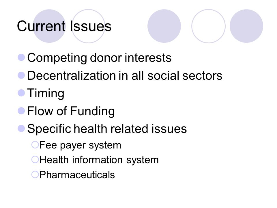 Current Issues Competing donor interests Decentralization in all social sectors Timing Flow of Funding Specific health related issues  Fee payer system  Health information system  Pharmaceuticals