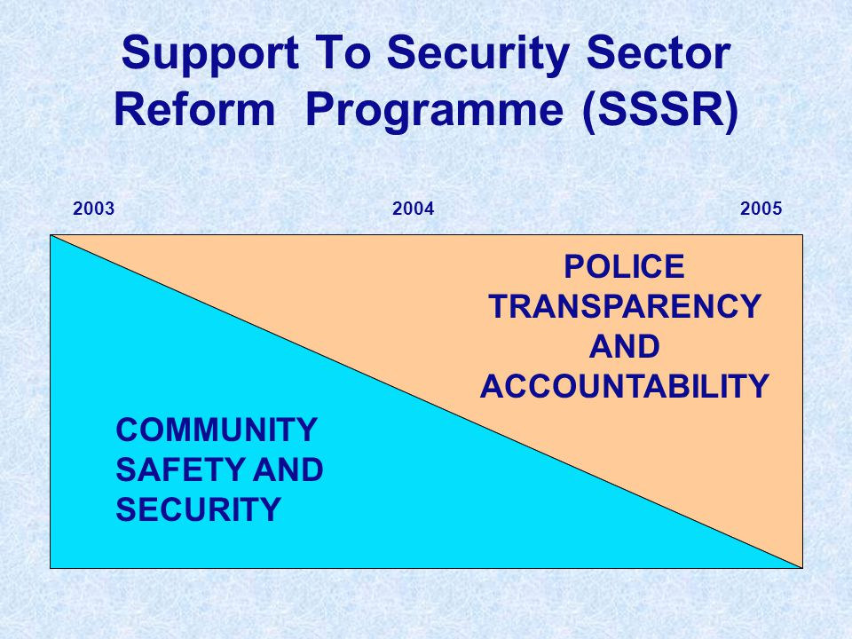 Support To Security Sector Reform Programme (SSSR) COMMUNITY SAFETY AND SECURITY POLICE TRANSPARENCY AND ACCOUNTABILITY 200520032004