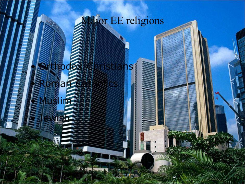 Major EE religions Orthodox Christians Roman Catholics Muslim Jewish