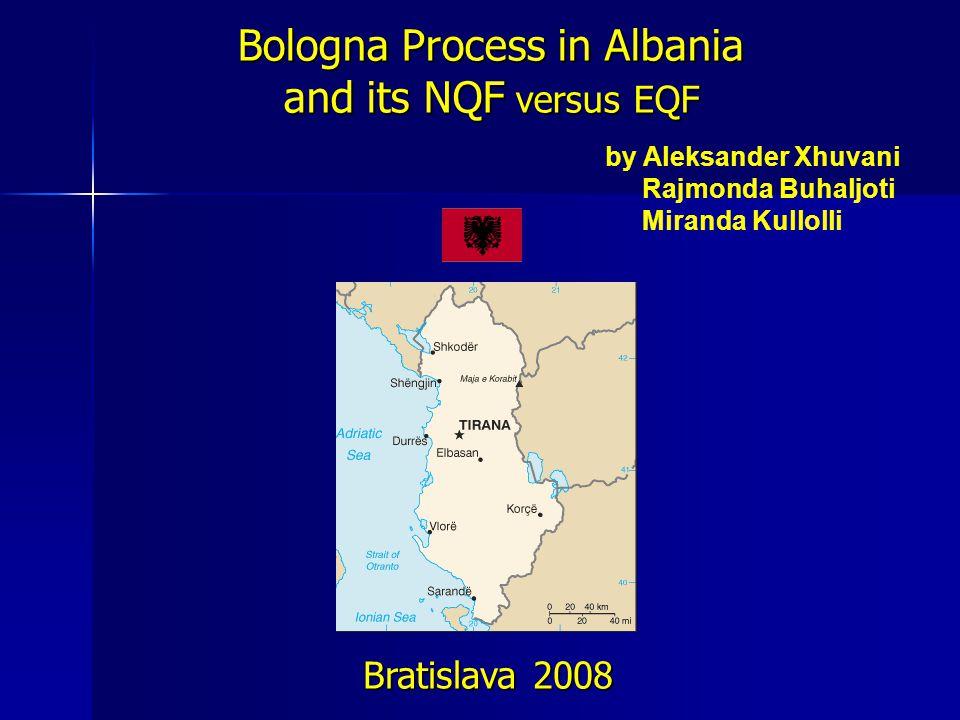 Bologna Process in Albania and its NQF versus EQF Bratislava 2008 by Aleksander Xhuvani Rajmonda Buhaljoti Miranda Kullolli