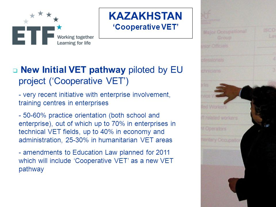  New Initial VET pathway piloted by EU project ('Cooperative VET') - very recent initiative with enterprise involvement, training centres in enterprises - 50-60% practice orientation (both school and enterprise), out of which up to 70% in enterprises in technical VET fields, up to 40% in economy and administration, 25-30% in humanitarian VET areas - amendments to Education Law planned for 2011 which will include 'Cooperative VET' as a new VET pathway KAZAKHSTAN 'Cooperative VET'