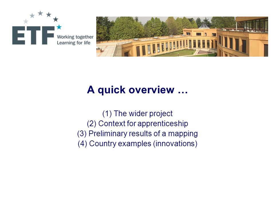 A quick overview … (1) The wider project (2) Context for apprenticeship (3) Preliminary results of a mapping (4) Country examples (innovations)