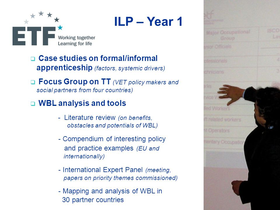 ILP – Year 1  Case studies on formal/informal apprenticeship (factors, systemic drivers)  Focus Group on TT (VET policy makers and social partners from four countries)  WBL analysis and tools - Literature review (on benefits, obstacles and potentials of WBL) - Compendium of interesting policy and practice examples (EU and internationally) - International Expert Panel (meeting, papers on priority themes commissioned) - Mapping and analysis of WBL in 30 partner countries