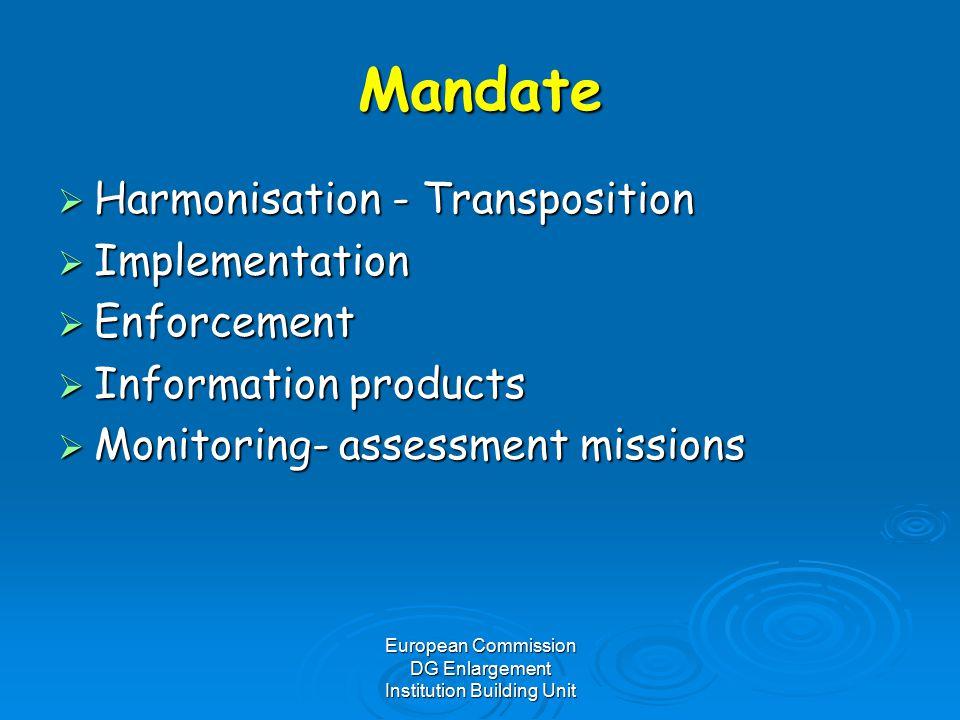 European Commission DG Enlargement Institution Building Unit Mandate  Harmonisation - Transposition  Implementation  Enforcement  Information products  Monitoring- assessment missions