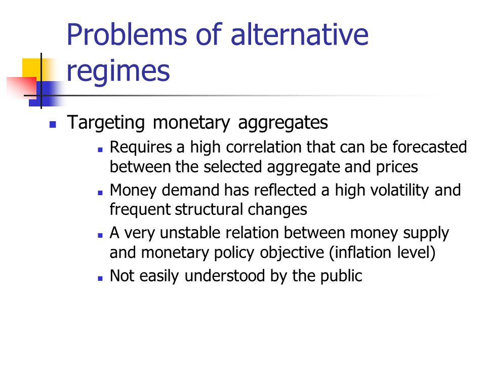 Problems of alternative regimes Targeting monetary aggregates Requires a high correlation that can be forecasted between the selected aggregate and prices Money demand has reflected a high volatility and frequent structural changes A very unstable relation between money supply and monetary policy objective (inflation level) Not easily understood by the public
