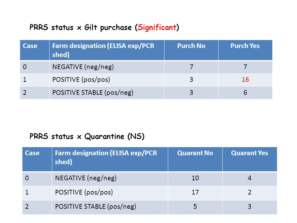 PRRS status x Quarantine (NS) PRRS status x Gilt purchase (Significant) CaseFarm designation (ELISA exp/PCR shed) Purch NoPurch Yes 0NEGATIVE (neg/neg)77 1POSITIVE (pos/pos)316 2POSITIVE STABLE (pos/neg)36 CaseFarm designation (ELISA exp/PCR shed) Quarant NoQuarant Yes 0NEGATIVE (neg/neg)104 1POSITIVE (pos/pos)172 2POSITIVE STABLE (pos/neg)53