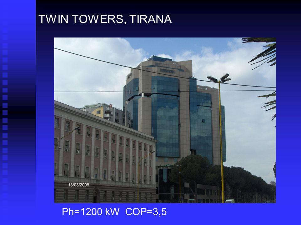 TWIN TOWERS, TIRANA Ph=1200 kW COP=3,5
