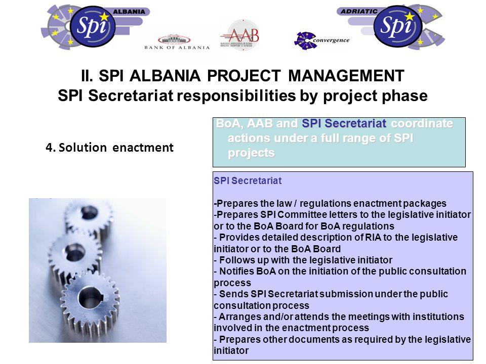 4. Solution enactment BoA, AAB and SPI Secretariat coordinate actions under a full range of SPI projects SPI Secretariat -Prepares the law / regulatio