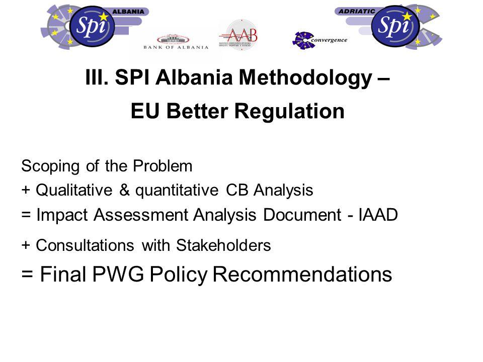 III. SPI Albania Methodology – EU Better Regulation Scoping of the Problem + Qualitative & quantitative CB Analysis = Impact Assessment Analysis Docum