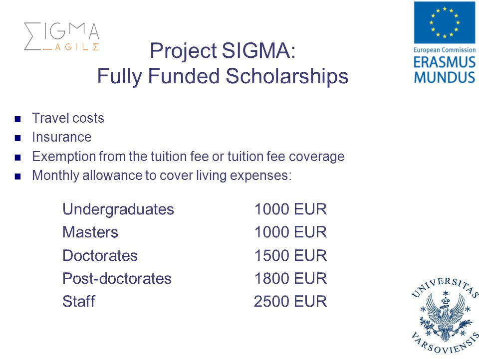 Project SIGMA: Fully Funded Scholarships Travel costs Insurance Exemption from the tuition fee or tuition fee coverage Monthly allowance to cover living expenses: Undergraduates1000 EUR Masters1000 EUR Doctorates1500 EUR Post-doctorates1800 EUR Staff2500 EUR