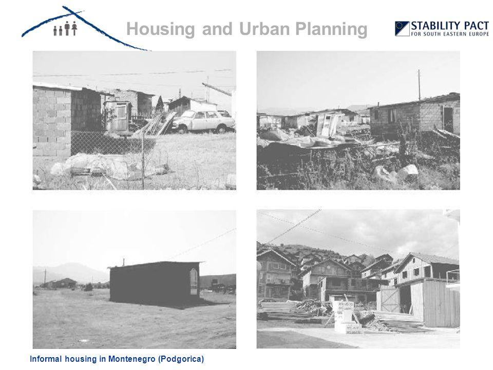 Informal housing in Montenegro (Podgorica) Housing and Urban Planning Urban slums (Belgrade) Unplanned settlements (Sarajevo / Podgorica) & illegal electricity connectionPublic resistance / participation (Albania)