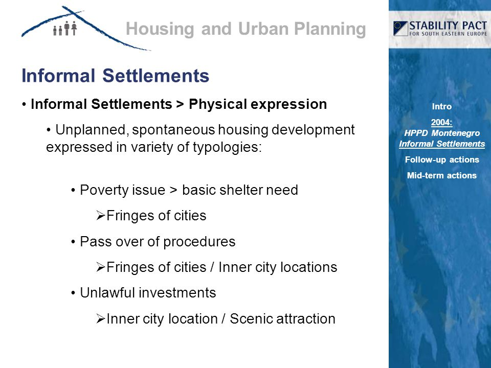 Informal Settlements Informal Settlements > Physical expression Unplanned, spontaneous housing development expressed in variety of typologies: Poverty