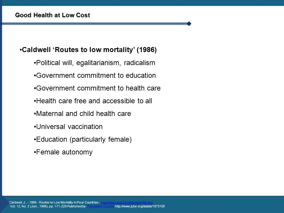 Caldwell, J., - 1986 - Routes to Low Mortality in Poor Countries - Population and Development ReviewPopulation and Development Review Vol.