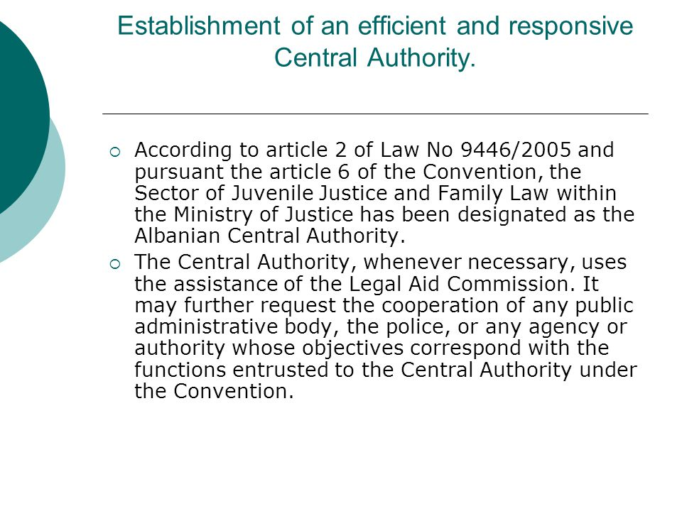 Establishment of an efficient and responsive Central Authority.
