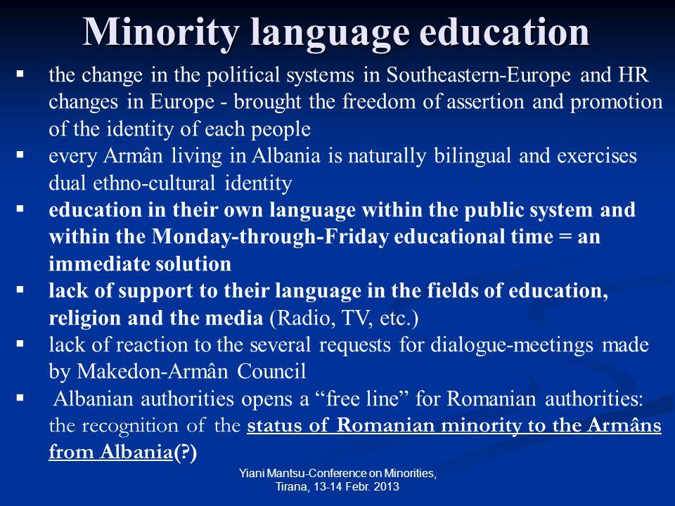 Yiani Mantsu-Conference on Minorities, Tirana, 13-14 Febr.