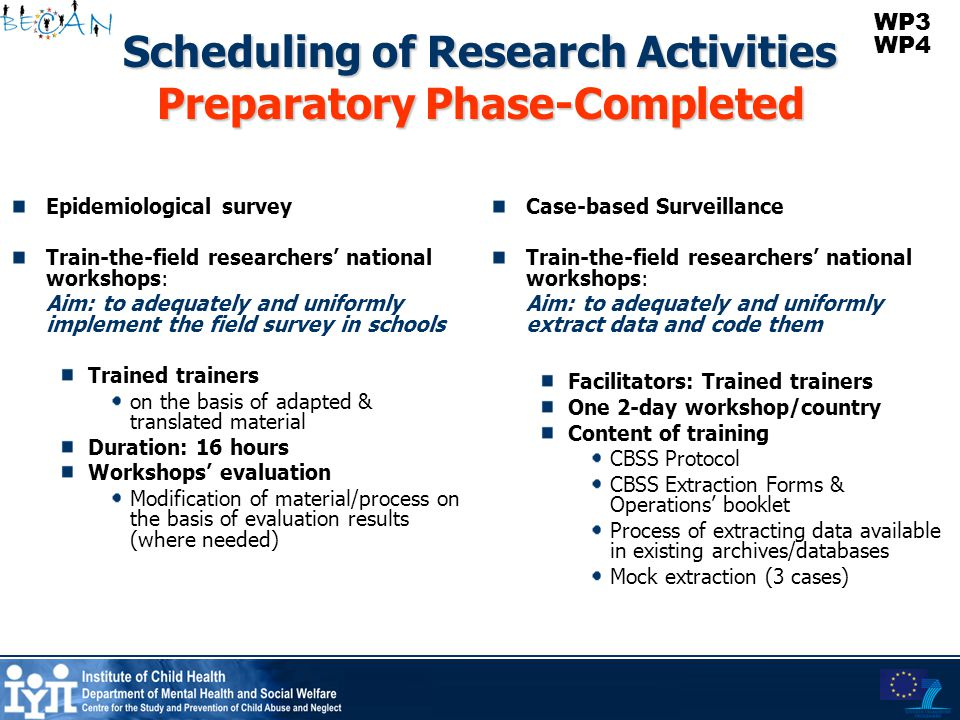 Scheduling of Research Activities Preparatory Phase-Completed Epidemiological survey Train-the-field researchers' national workshops: Aim: to adequate