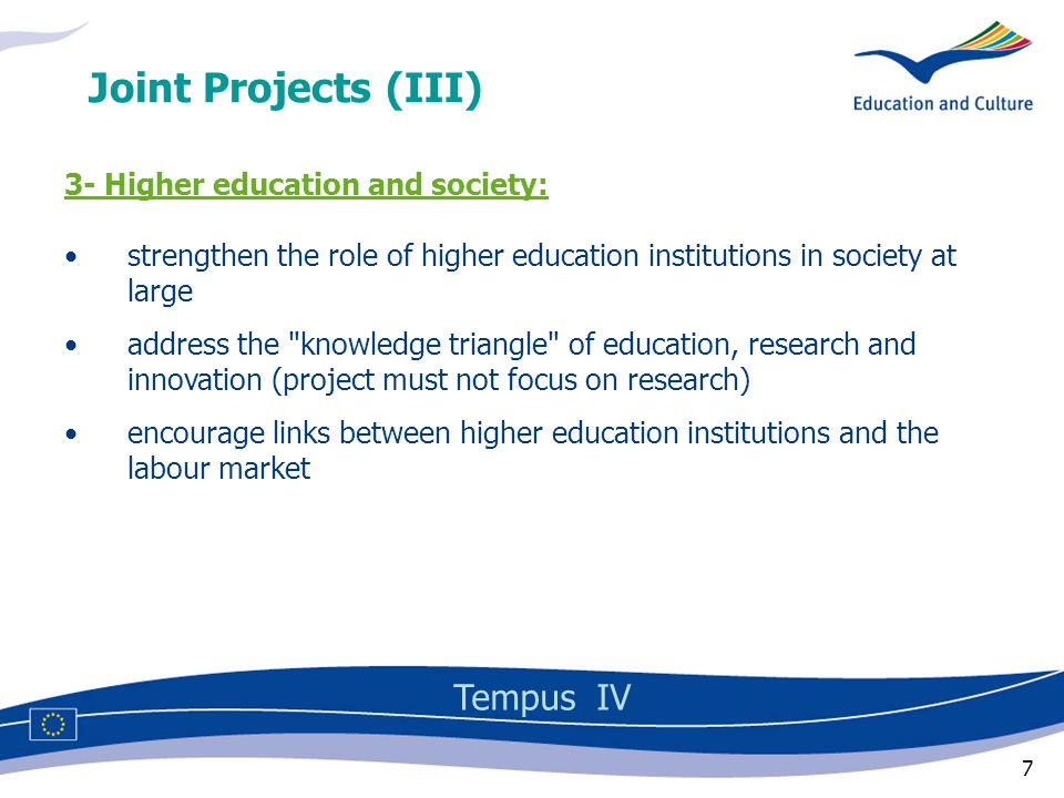 18 Block 3: Higher education and society Training of non-university teachers Development of partnerships with enterprises Knowledge triangle education-research-innovation Training courses for public services (ministries, regional/local authorities) Development of lifelong learning in society at large Qualification frameworks Programme priorities (IV) Tempus IV