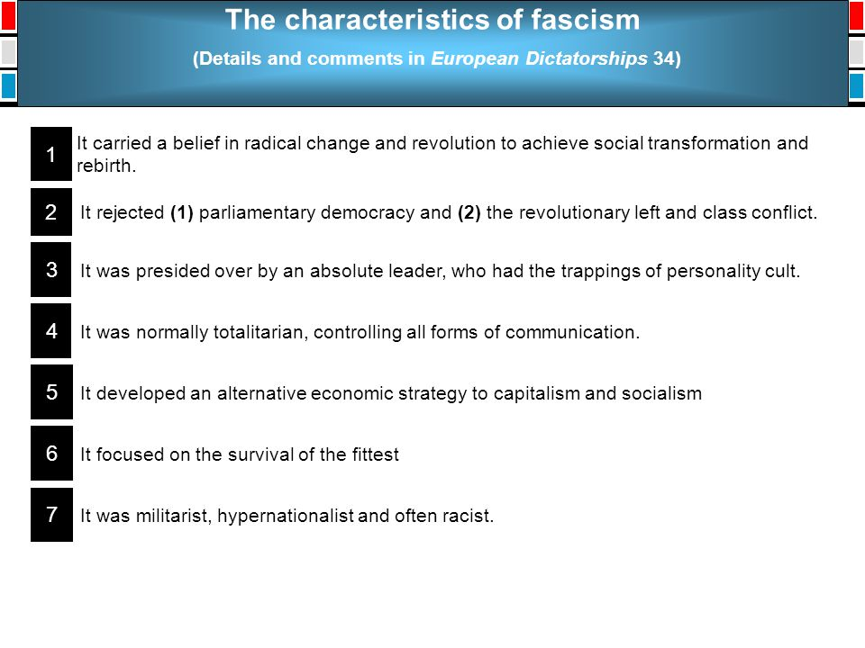 The characteristics of fascism (Details and comments in European Dictatorships 34) It carried a belief in radical change and revolution to achieve soc