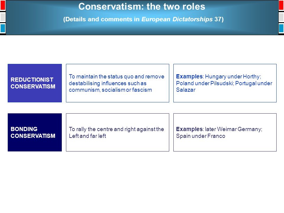Conservatism: the two roles (Details and comments in European Dictatorships 37) To maintain the status quo and remove destabilising influences such as