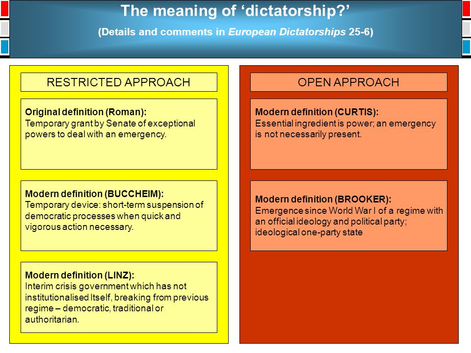 The meaning of 'dictatorship?' (Details and comments in European Dictatorships 25-6) RESTRICTED APPROACHOPEN APPROACH Original definition (Roman): Tem