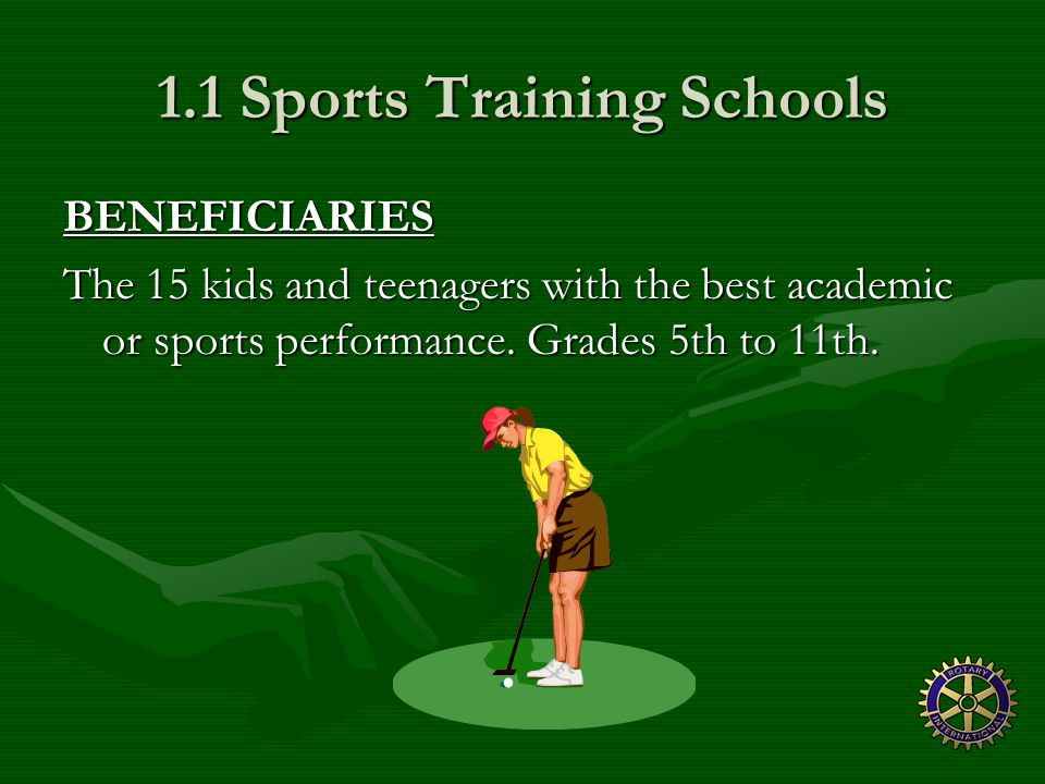 1.1 Sports Training Schools BENEFICIARIES The 15 kids and teenagers with the best academic or sports performance.