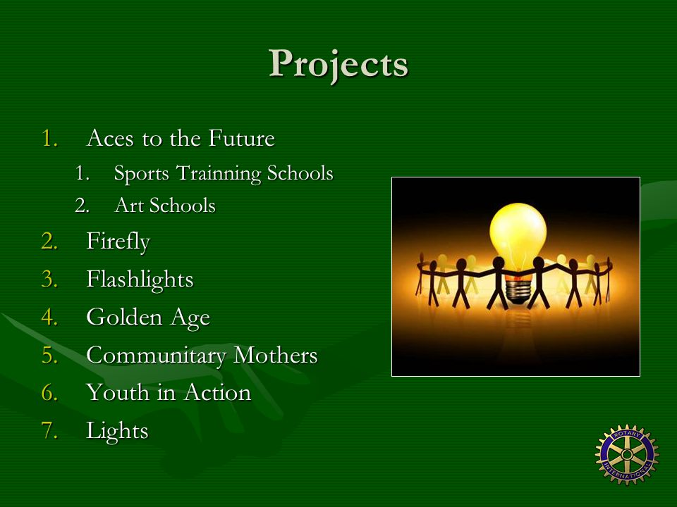 Projects 1.Aces to the Future 1.Sports Trainning Schools 2.Art Schools 2.Firefly 3.Flashlights 4.Golden Age 5.Communitary Mothers 6.Youth in Action 7.Lights