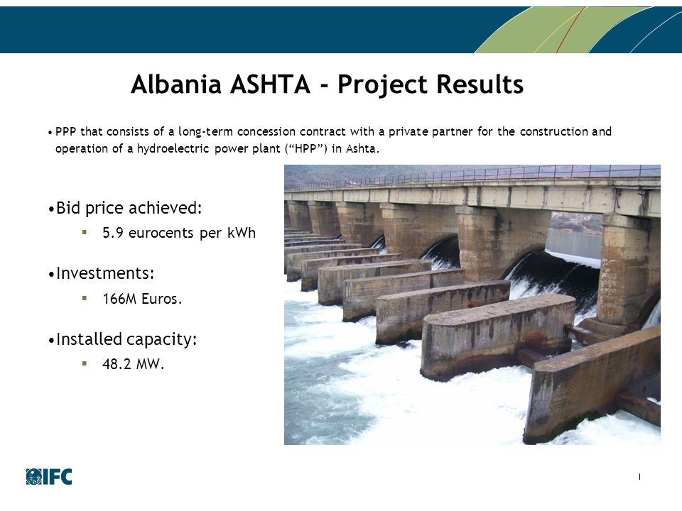 Albania ASHTA - Project Results PPP that consists of a long-term concession contract with a private partner for the construction and operation of a hy