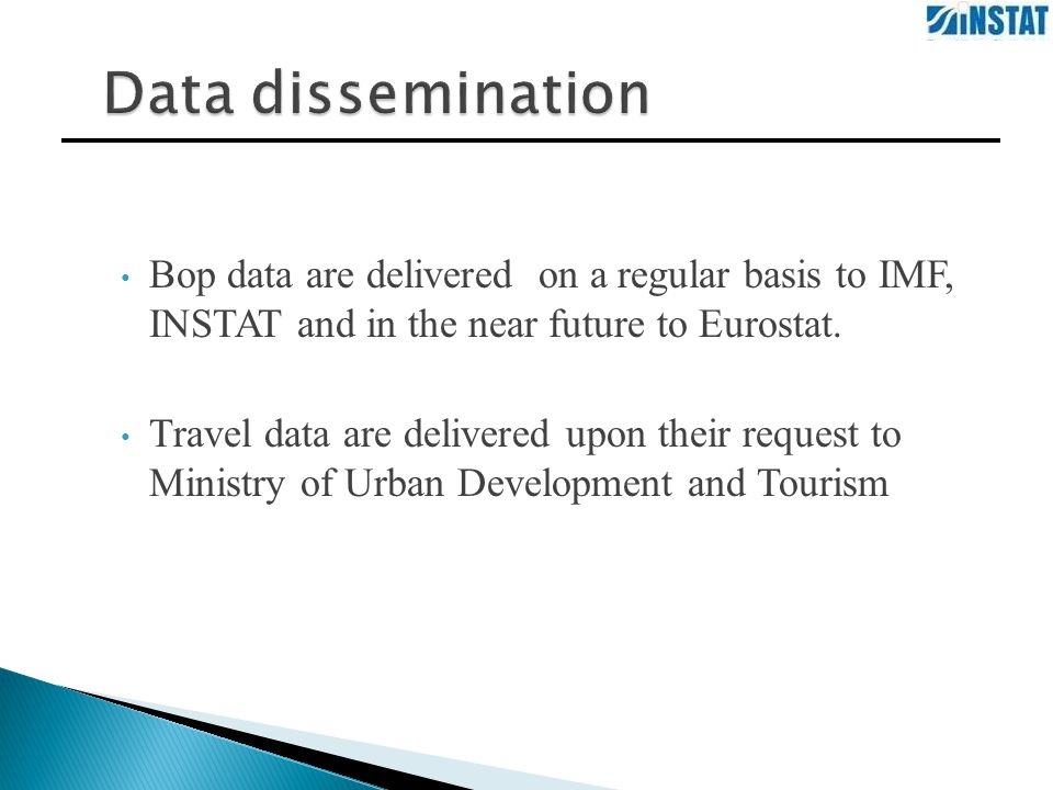 Bop data are delivered on a regular basis to IMF, INSTAT and in the near future to Eurostat.