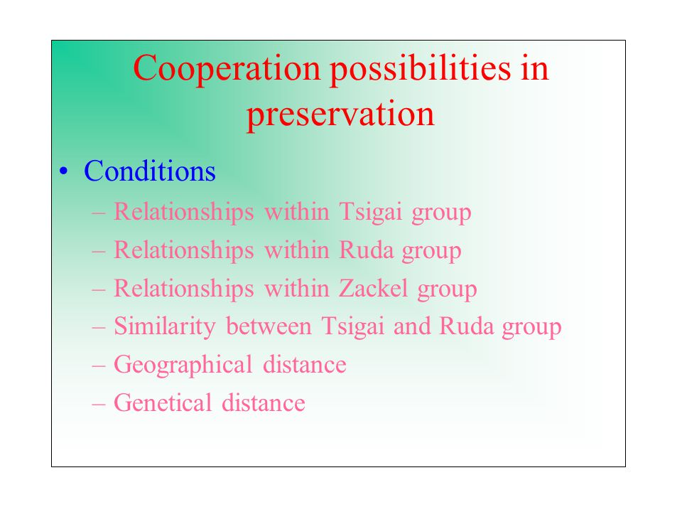 Cooperation possibilities in preservation Conditions –Relationships within Tsigai group –Relationships within Ruda group –Relationships within Zackel group –Similarity between Tsigai and Ruda group –Geographical distance –Genetical distance
