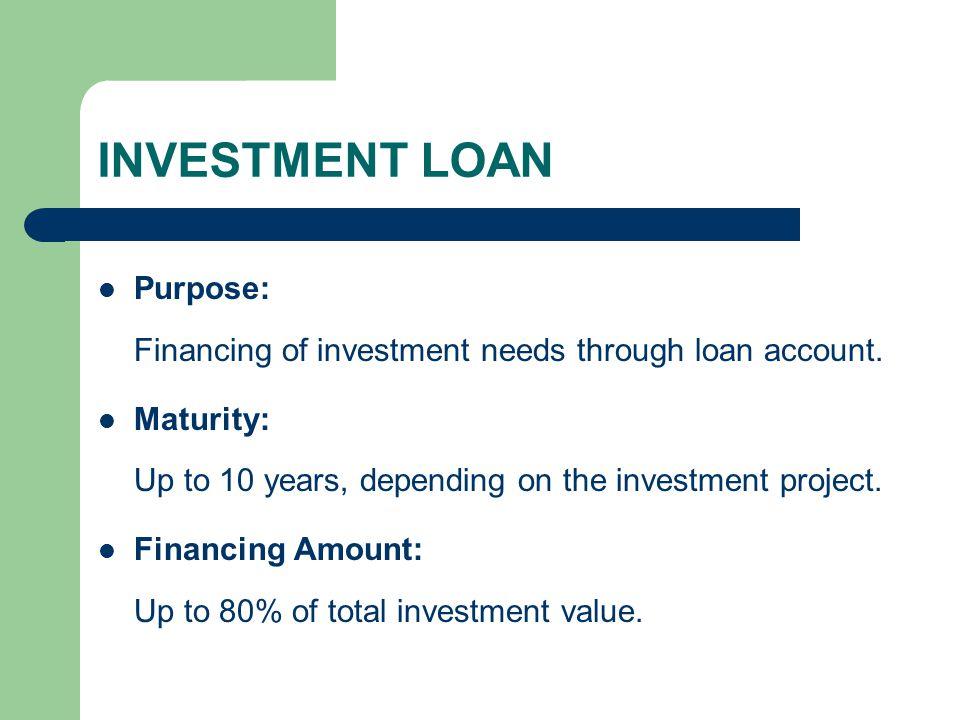 MACHINERIES/EQUIPMENT LOAN Purpose: Financing of new machineries/equipment purchase through loan account.