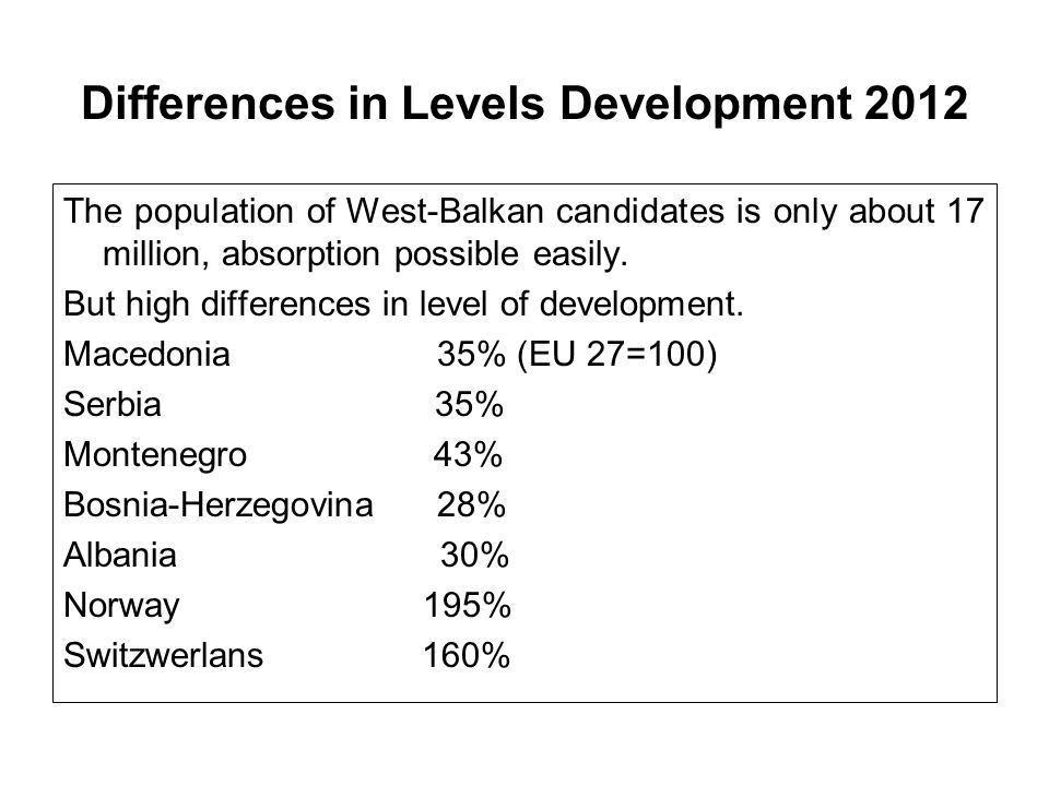 Differences in Levels Development 2012 The population of West-Balkan candidates is only about 17 million, absorption possible easily. But high differe