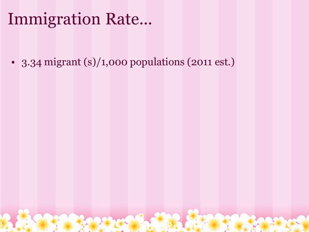 Immigration Rate... 3.34 migrant (s)/1,000 populations (2011 est.)