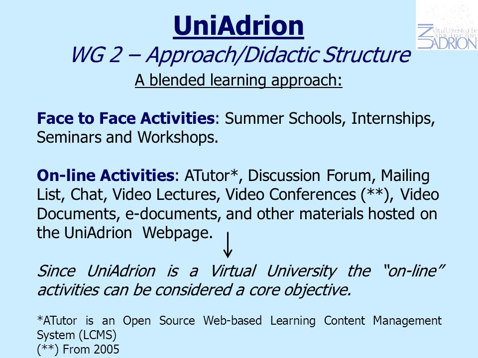 UniAdrion WG 2 – Approach/Didactic Structure A blended learning approach: Face to Face Activities: Summer Schools, Internships, Seminars and Workshops.