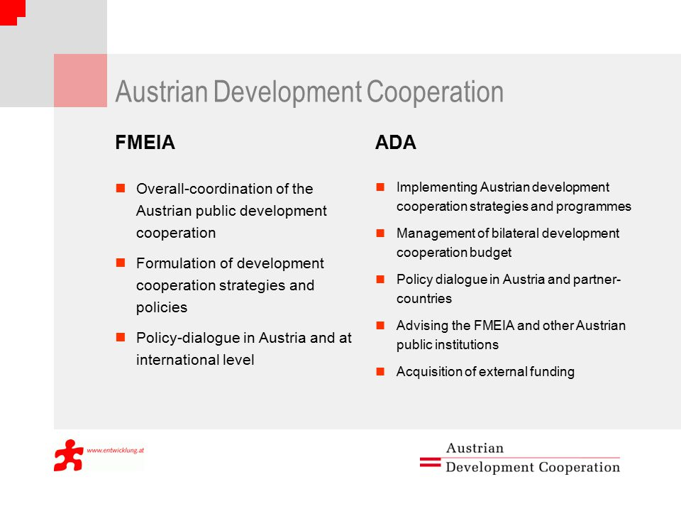 Austrian Development Cooperation FMEIA Overall-coordination of the Austrian public development cooperation Formulation of development cooperation strategies and policies Policy-dialogue in Austria and at international level ADA Implementing Austrian development cooperation strategies and programmes Management of bilateral development cooperation budget Policy dialogue in Austria and partner- countries Advising the FMEIA and other Austrian public institutions Acquisition of external funding