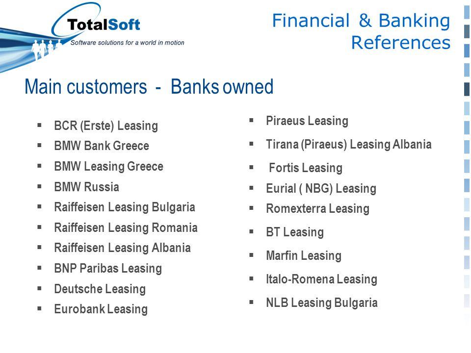  BCR (Erste) Leasing  BMW Bank Greece  BMW Leasing Greece  BMW Russia  Raiffeisen Leasing Bulgaria  Raiffeisen Leasing Romania  Raiffeisen Leas