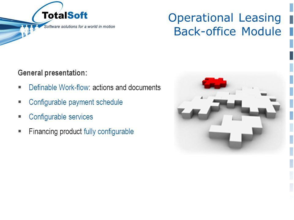 Operational Leasing Back-office Module General presentation:  Definable Work-flow: actions and documents  Configurable payment schedule  Configurable services  Financing product fully configurable