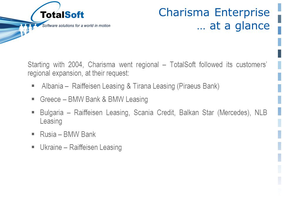 Starting with 2004, Charisma went regional – TotalSoft followed its customers' regional expansion, at their request:  Albania – Raiffeisen Leasing &