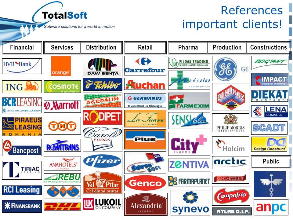 References important clients! DistributionServicesFinancialRetailPharmaConstructionsProduction Public