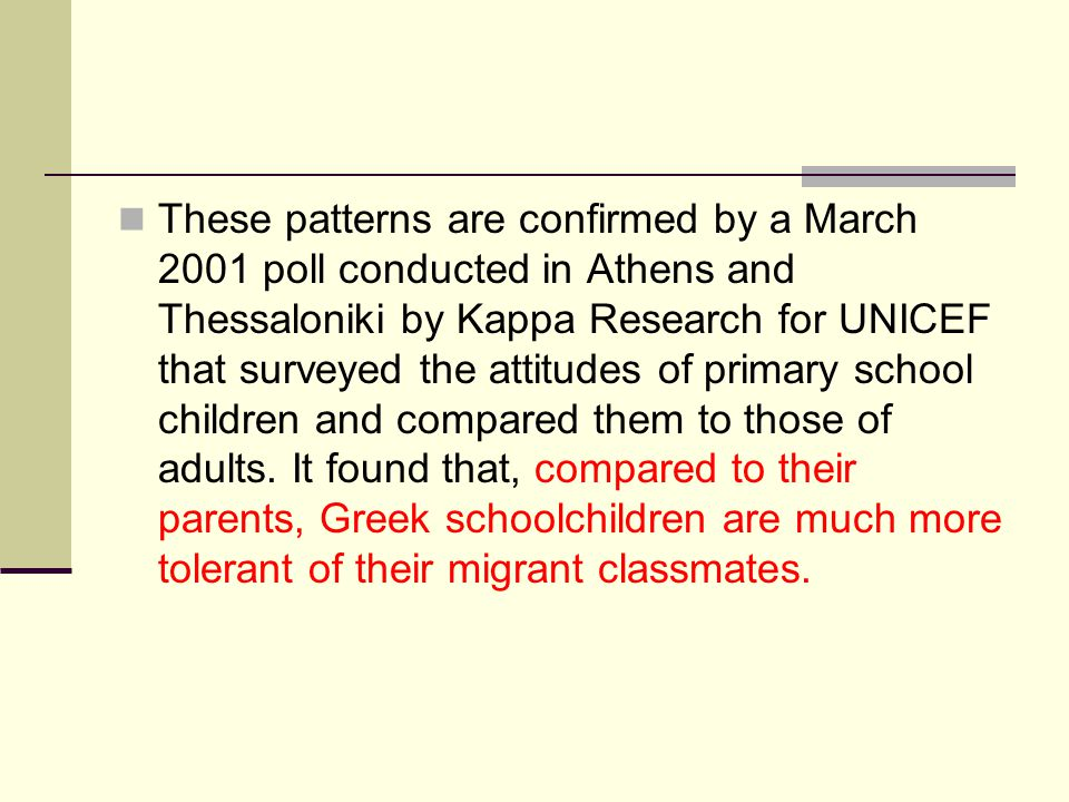 These patterns are confirmed by a March 2001 poll conducted in Athens and Thessaloniki by Kappa Research for UNICEF that surveyed the attitudes of pri