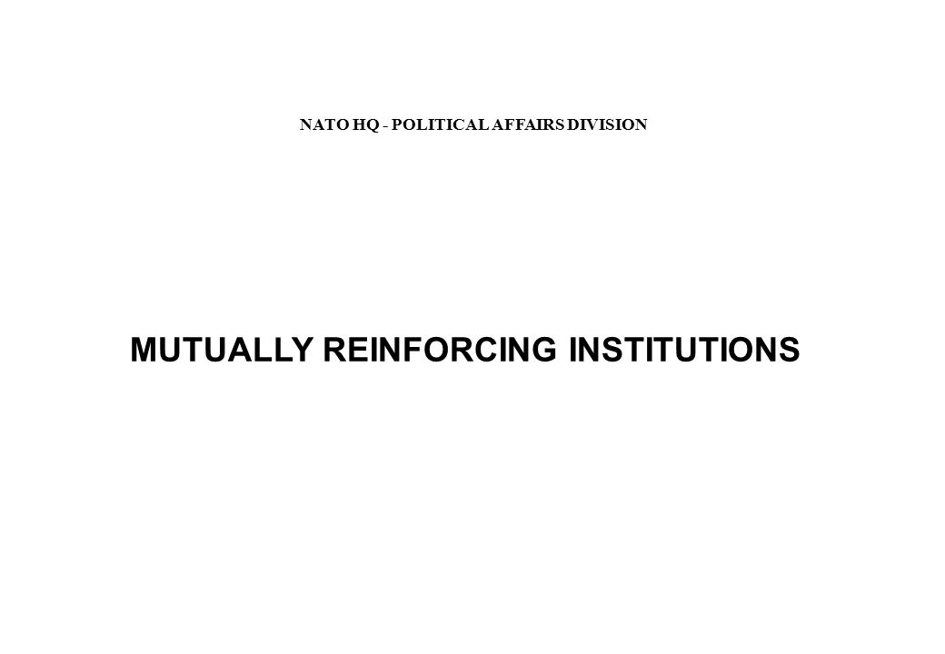 MUTUALLY REINFORCING INSTITUTIONS NATO HQ - POLITICAL AFFAIRS DIVISION