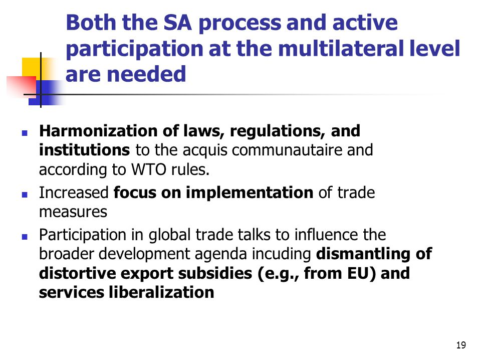 19 Both the SA process and active participation at the multilateral level are needed Harmonization of laws, regulations, and institutions to the acquis communautaire and according to WTO rules.